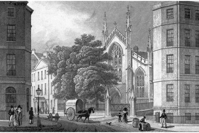 Edinburgh, Broughton Street, St Mary's Roman Catholic Cathedral Photographic copy of engraving showing St Mary's Roman Catholic Cathedral from Picardy Place Copied from 'Modern Athens'. Insc. 'Catholic Chapel, from Picardy Place. Edinburgh. Drawn by Tho. H Shepherd. Engraved by W H Bond'