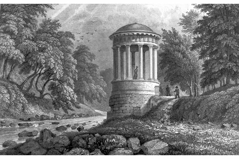 Edinburgh, St Bernard's Well Photographic copy of engraving showing St Bernard's Well by Water of Leith Copied from 'Modern Athens'. Insc. 'St. Bernard's Well, Water of Leith. Drawn by Tho. H Shepherd. Engraved by J B Allen'