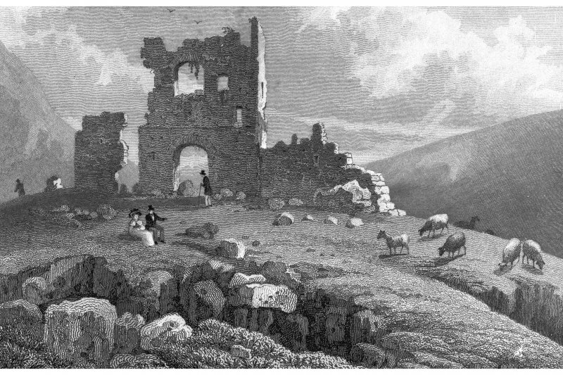 Edinburgh, Holyrood Park, St Anthony's Chapel and Hermitage Engraving showing ruins of St Anthony's Chapel Copied from 'Modern Athens'. Insc. 'Ruins of St. Anthony's Chapel, Edinburgh. Drawn by T H Shepherd. Engraved by S Lacey'