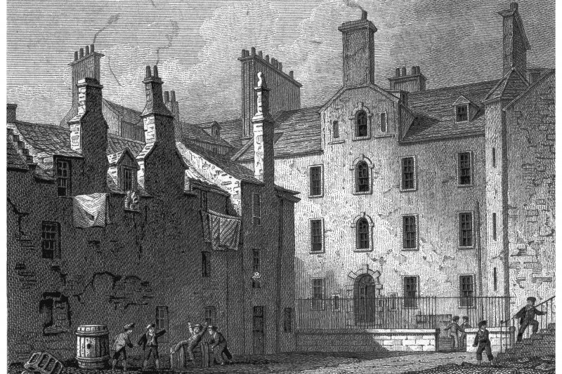 Edinburgh, 240 Canongate, Chessel's Court Photographic copy of engraving showing Deaf and Dumb Institution in Canongate Copied from 'Views in Edinburgh and its Vicinity, Volume 1'. Insc. 'Deaf and Dumb Institution, (Cannongate). Drawn, Eng.d & Pub.d by J & HS Storer, Chapel Street, Pentonville, Dec 1 1819'