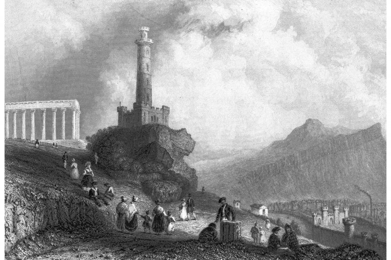 Scanned image of Edinburgh, Calton Hill, General Photographic copy of engraving showing general view of Calton Hill looking South Copied from 'Scotland Illustrated, Volume 1'. Insc. 'The Calton Hill, (with Nelson's Monument.) W.H. Bartlett. H. Griffiths'