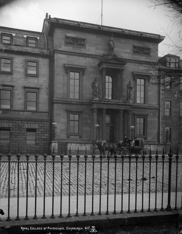 View of front facade showing horse and carriage drawn up outside, insc: 'Royal College of Physicians. Edinburgh.417'