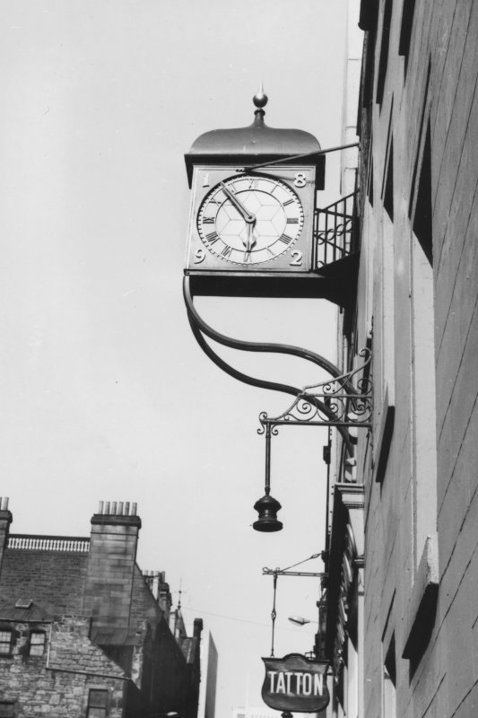 View of clock and brackets dated 1892