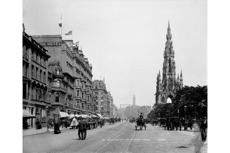 View from east of Princes Street showing Calton Hill and Scott Monument, also showing horse-drawn carriages and carts, inscr; 'PRINCES STREET (FROM ROYAL INSTITUTION) EDINBURGH.'