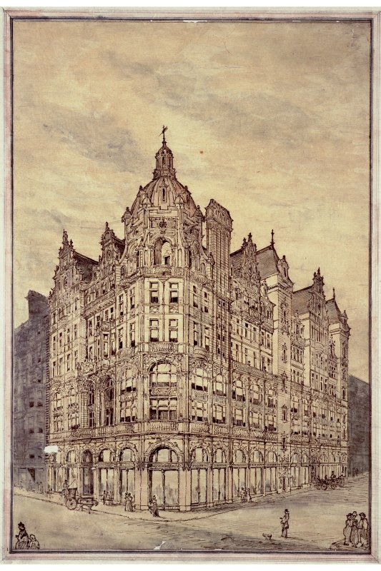 Photographic copy of perspective sketch of Jenners Department Store, Princes Street from south west.