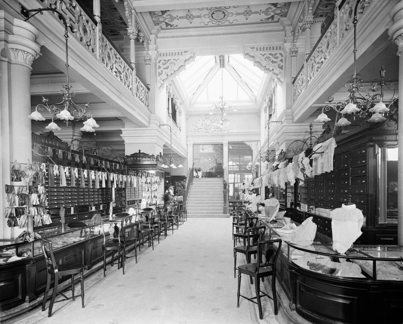 View of the sales floor for gloves and lace in Jenner's Department Store, Princes Street, Edinburgh.