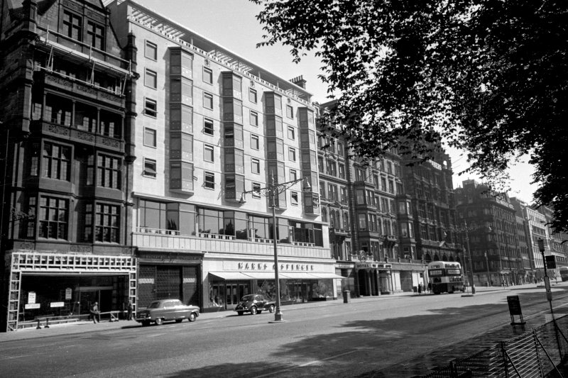 View of 60 - 52 Princes Street from south west mainly showing Nos 60, 54 - 59 and 53 - 54, including old and new portions of The Royal Hotel.