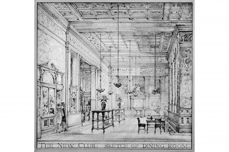 New Club, photographic copy of sketch of dining room.