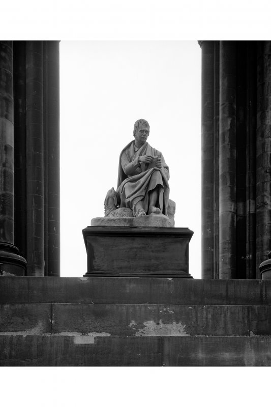 Detail of Walter Scott statue on the Scott Monument, Princes street, Edinburgh.