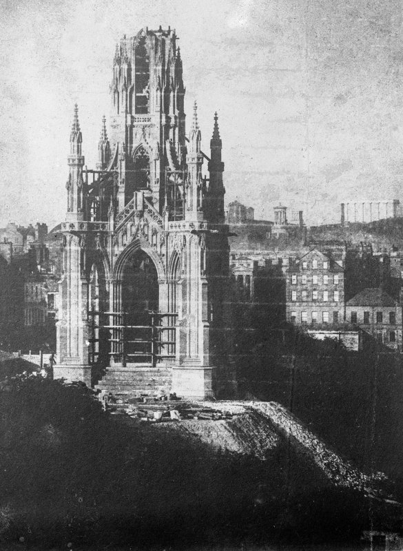View of the Scott Monument under construction.