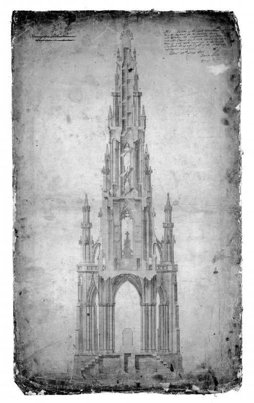 Photographic copy of section of Scott Monument, contract drawing
