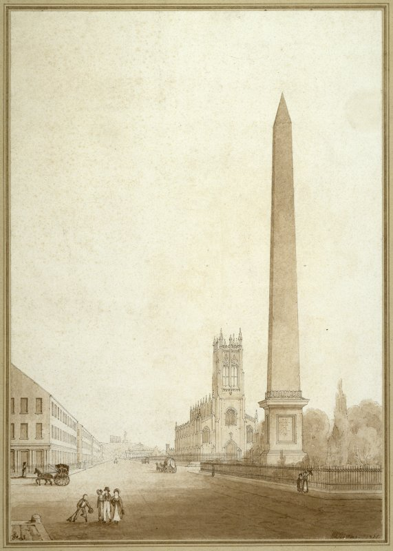 Unexecuted design for an obelisk in memory of Sir Walter Scott, perspective view, competition drawing.  Also showing Princes Street and St John's Episcopal Church.