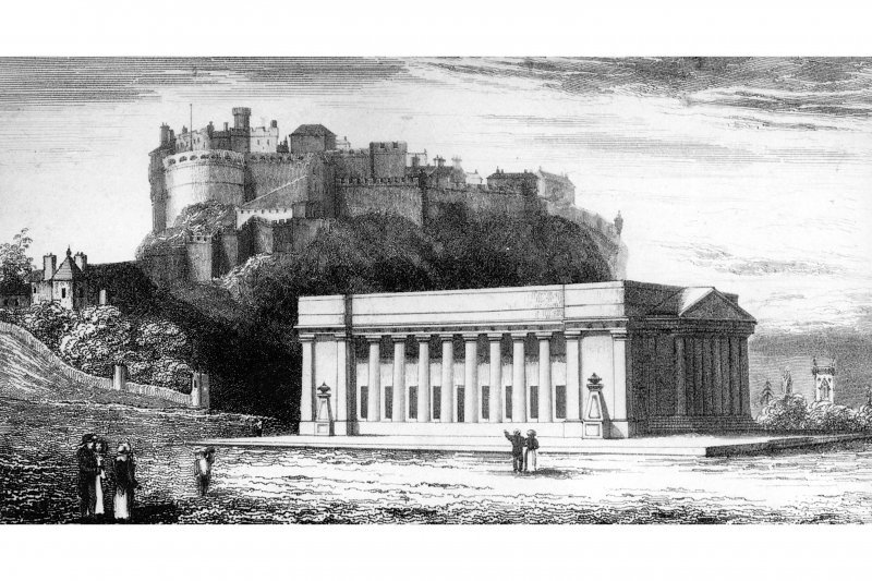 "Edinburgh, The Mound, The Royal Academy. Photographic copy of an engraved view of ""Castle and Royal Institution from North east"" Illustration from around the edge of a plan of 1827."