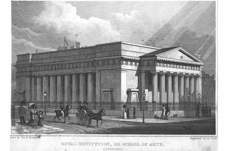 Photographic copy of engraving, insc: 'Royal Institution, or School of Arts, Edinburgh' 'Drawn by Th.H Shepherd.  Engraved by A. Cruse.   Jones & Co. London  1829""