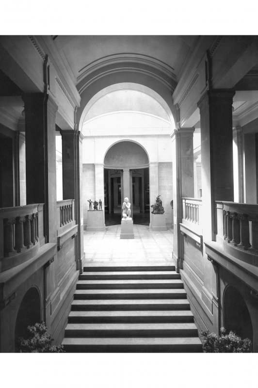Interior view of the Royal Scottish Academy, Edinburgh, showing main entrance staircase.