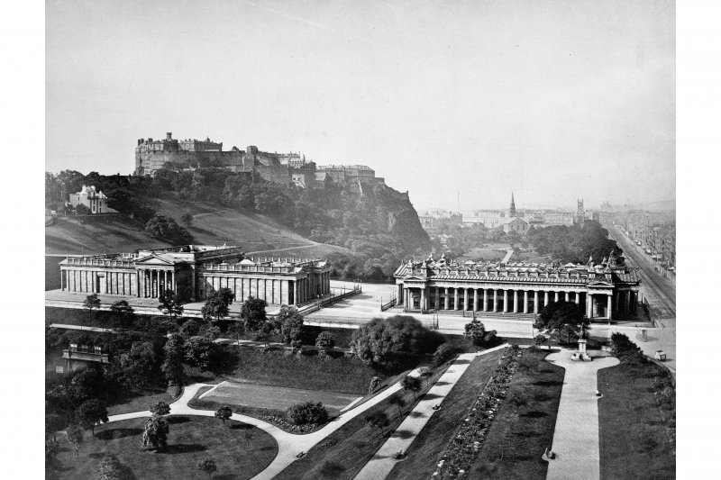 View from Scott Monument showing National Gallery and Royal Scottish Academy in foreground with the Castle in background