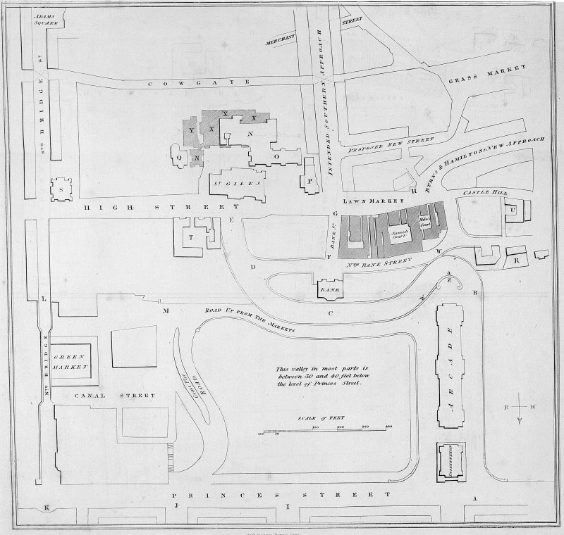 The Mound. Photographic copy of proposed ground plan, including Arcade on the Mound. Titled: 'Plate No.3  Ground Plan'.