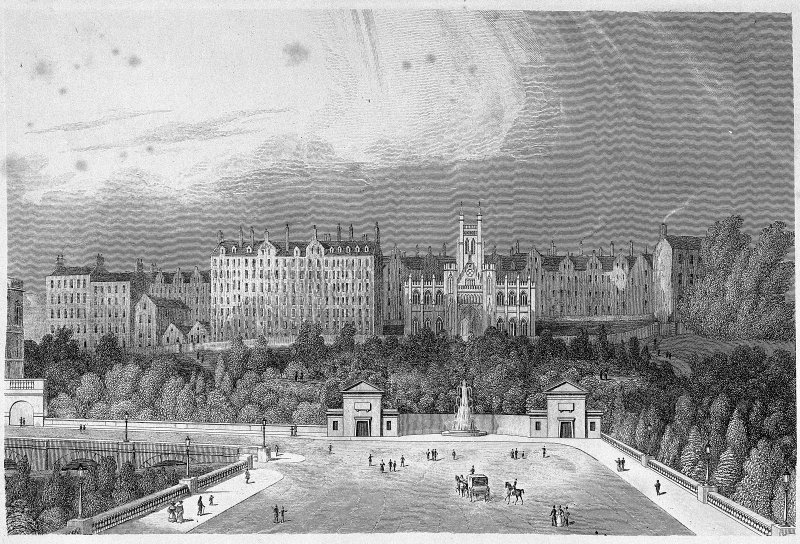 Engraving of The Mound, Edinburgh showing New College. Titled: 'Mr Trotter of Dreghorns Plan for Improving the Mound'.