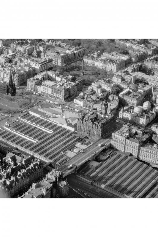 Oblique aerial view of North British Hotel and Waverley Station from SE.