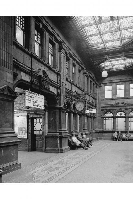 Booking Hall, north wall from west
