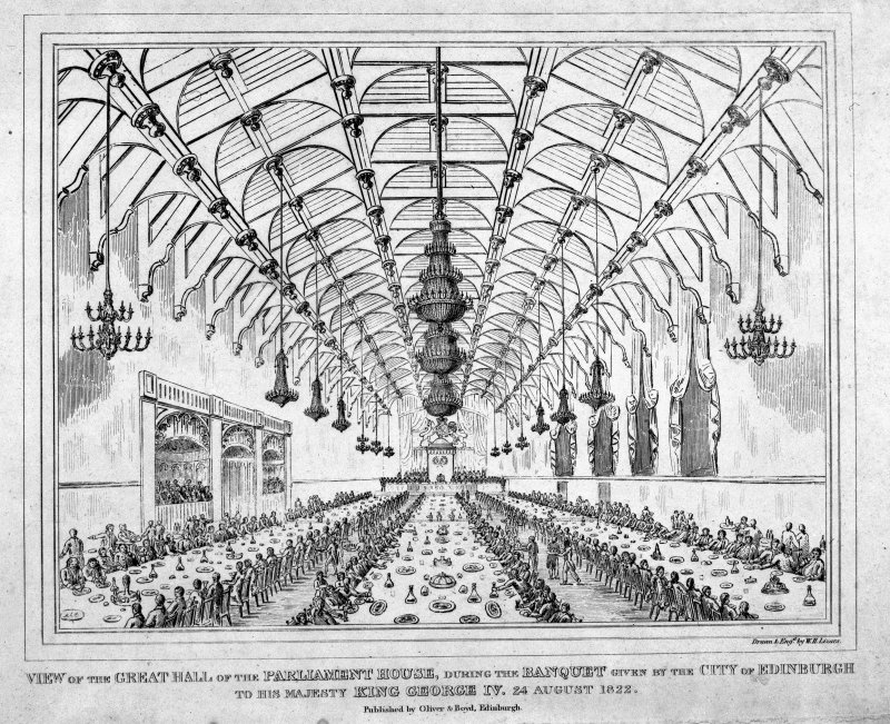 Interior during banquet given by City of Edinburgh to King George IV in 1822