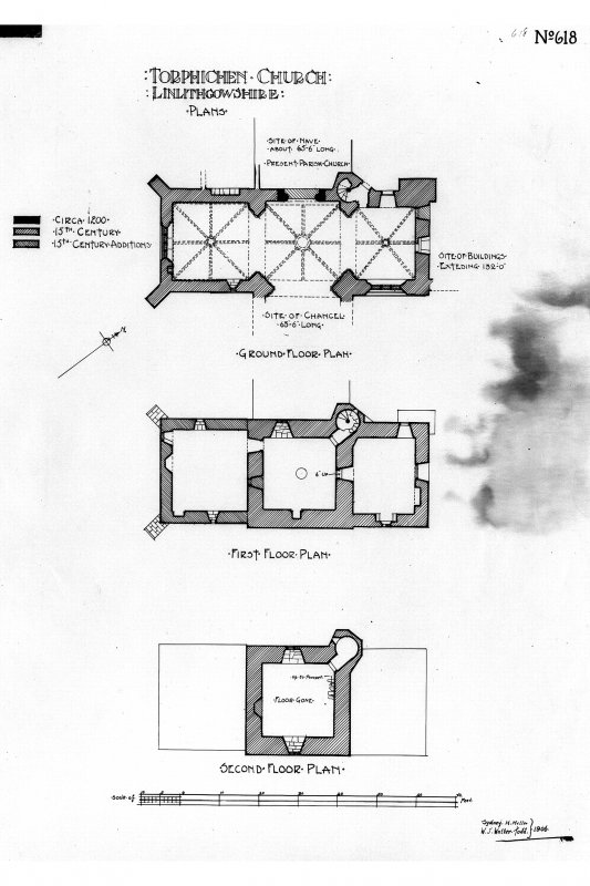 Plans of ground, first and second floors.