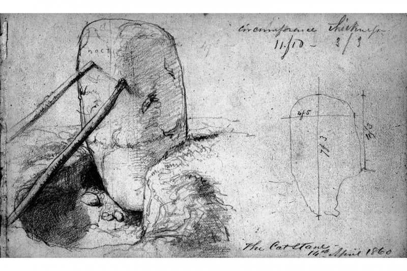 Photographic copy of drawing of the Cat Stane by J Drummond. Inscr: 'The Catstane 14th April 1860'.