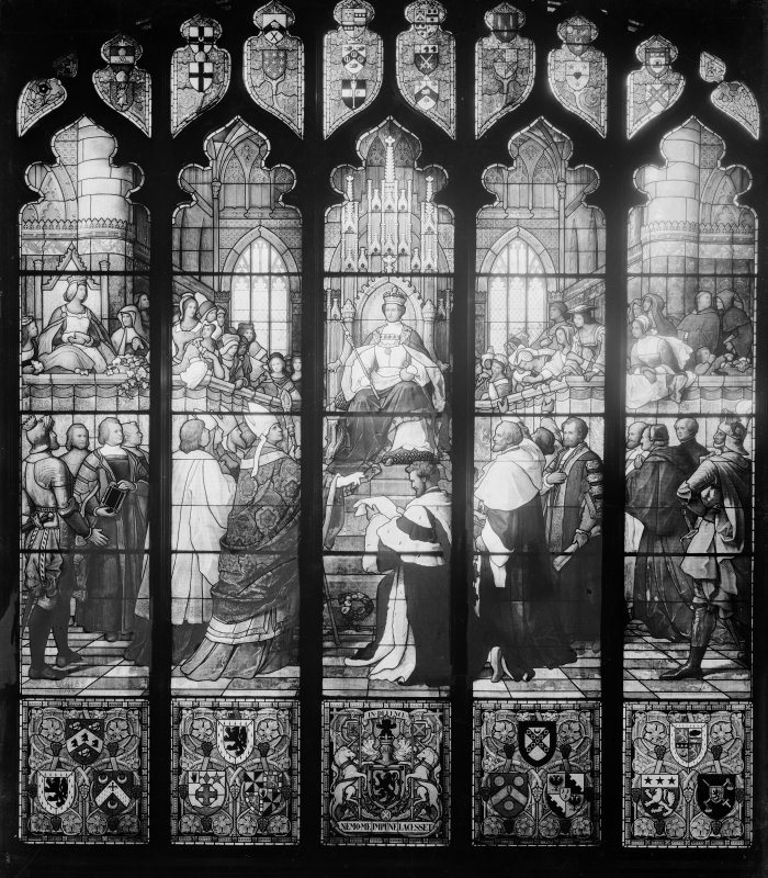 Interior, detail of stained glass window commemorating the institution of the College of Justice by James V in 1532.