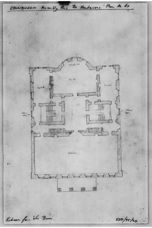 Photographic copy of plan of ballroom floor as completed to Henderson's design, taken from red ink outline of early work shown on Burn's plans.