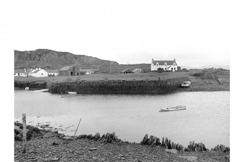 Easdale Harbour View from E showing ESE and NNE fronts of slate loading jetty on W side of harbour