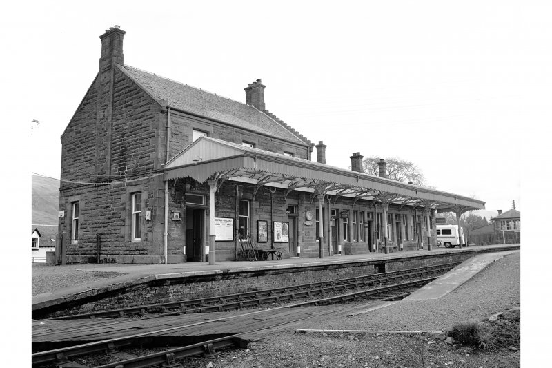 Dalmally Station View from WSW showing WNW and SSW fronts of main station building