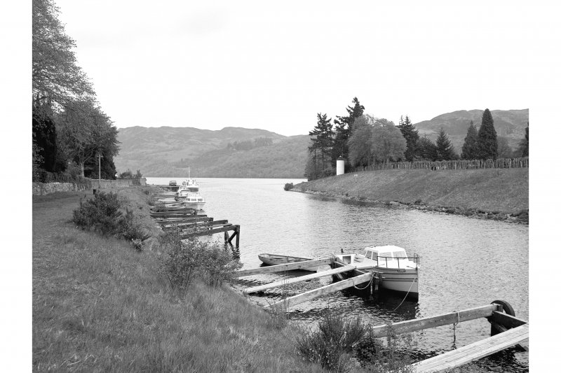 View of moorings and lighthouse, Caledonian Canal, Fort Augustus.