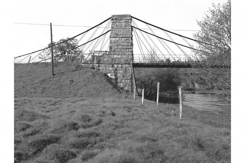 Oich, Old Suspension Bridge View of masonry pylons and anchoring cables