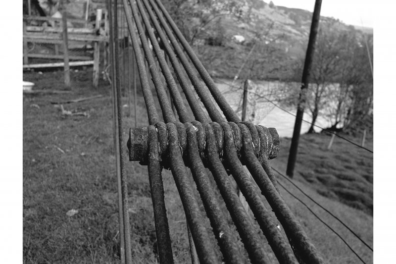 Oich, Old Suspension Bridge Detail of multiple linkage unit at cable anchorage point