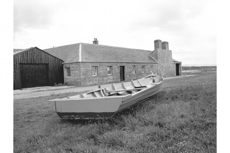 Tugnet, Ice-house and Fishery View from NNW showing WNW front of boiling house with boat in foreground