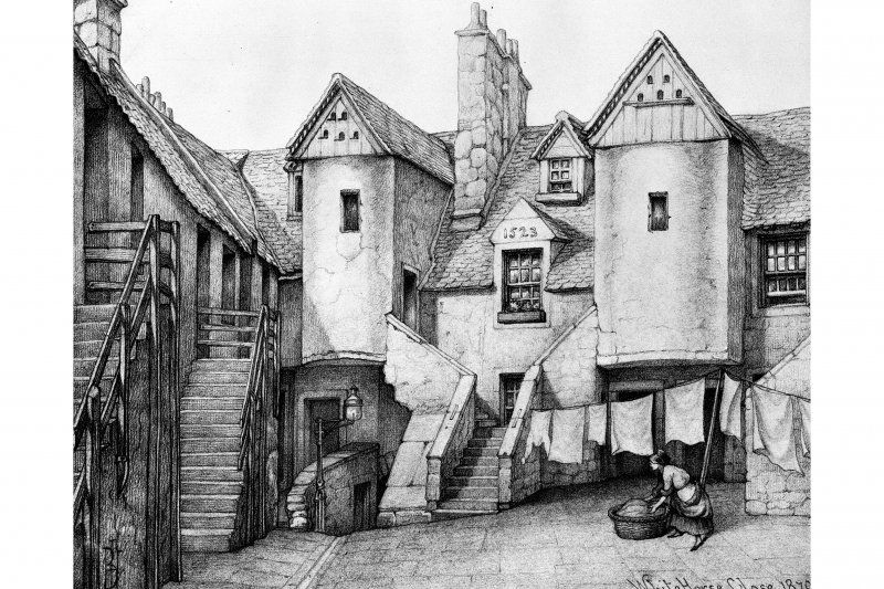 "Photographic copy of sketch from ""Old Houses in Edinburgh"" by Bruce J Home.  Sketch insc: 'White Horse Close 1870'."