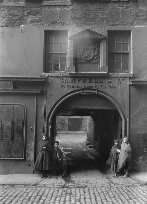 General view of main entrance wynd with children standing on either side
