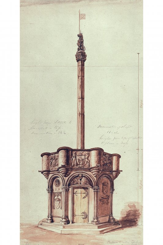 Photographic copy of drawing showing proposed restoration with measurements