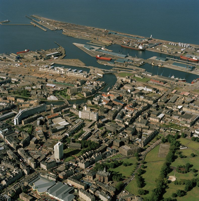 Edinburgh, oblique aerial view, taken from the S, showing Leith and Leith Docks.