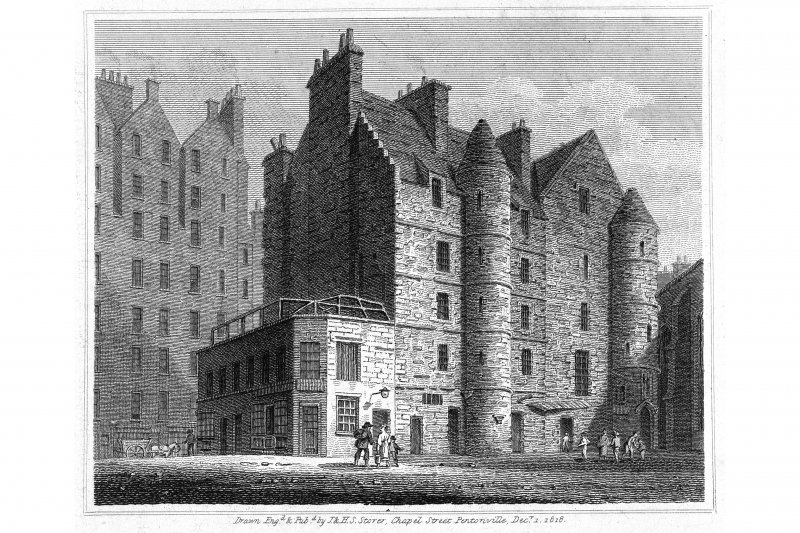 "Photographic copy of engraving showing general view of Old Tolbooth Insc. ""The Tolbooth.      Drawn, Eng.d & pub.d by J & H S Storer, Chapel Street Pentonville, Dec.r 1, 1818"" Copied from ""Views in Edinburgh Vol 2"""
