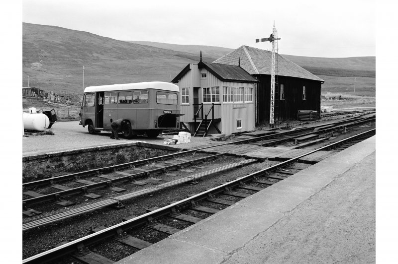 Achnasheen Station General view  of signal box and post bus