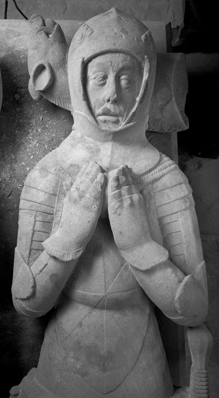 Kilmun Church, Argyll vault effigy detail of armoured figure, upper part, from above,