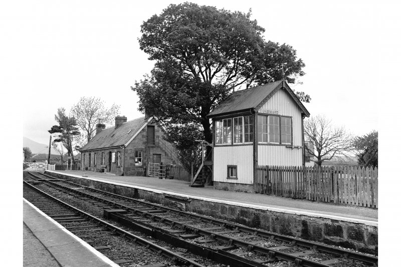 Forsinard Station View from ESE showing SSE and ENE fronts of E signal box with main station building in background