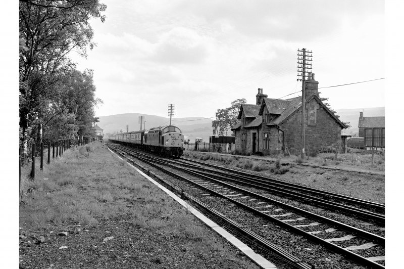Blackford Station View from NW showing train passing main station building