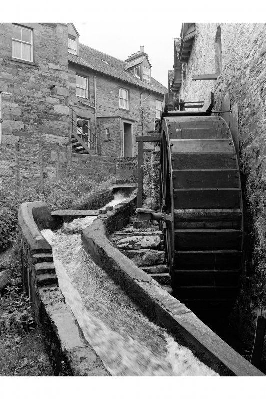 Aberfeldy, Mill Street, Mill View from NE showing waterwheel and N front of number 12, Bank Street