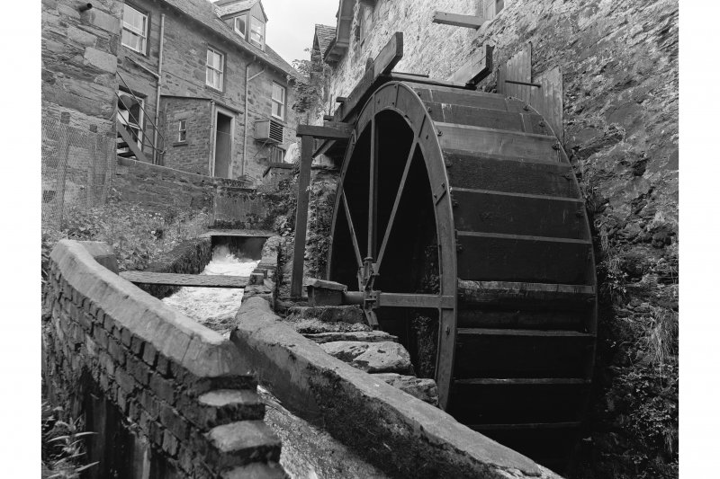 Aberfeldy, Mill Street, Mill View from ENE showing waterwheel and N front of number 12, Bank Street