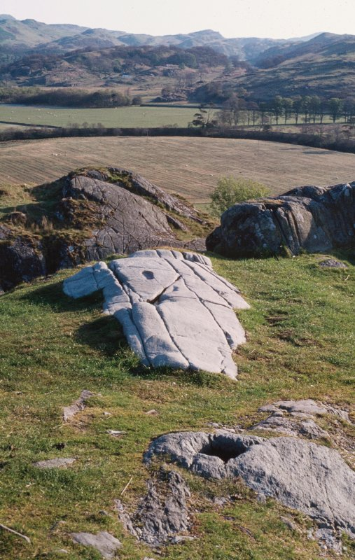 Scan of Ian Fisher slide, general view of Dunadd fort.