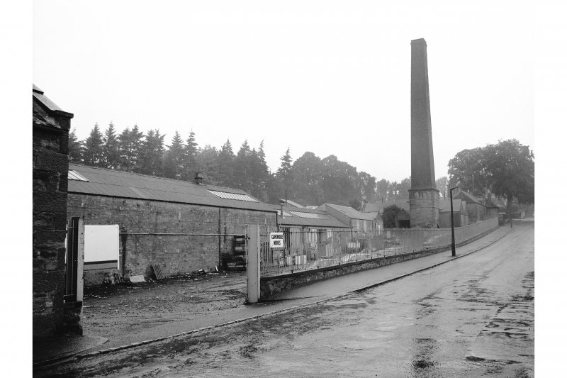 Dundee, Claverhouse Bleachworks General view from S showing chimney and SE front of works