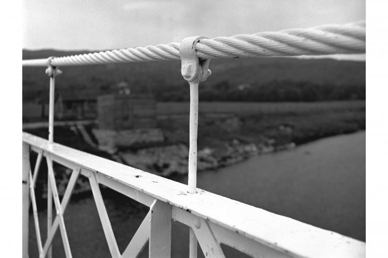 Polhollick, Suspension Bridge View showing cable and part of suspension rod