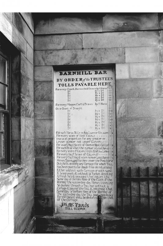 Perth, Dundee Road, Barnhill Tollhouse View from ESE showing tables of dues